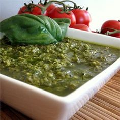 Hands down the best pesto ever! Just add it to cooked linguine pasta, and top it off with cherry tomatoes and fresh grated parm cheese... The best!!!!