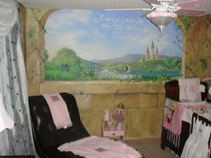 Custom Baby Girl Princess Nursery Theme Painted Wall Mural: My wife always wanted a little princess theme bedroom for our baby girl.  I'm pretty good at designing whatever she wants.  So I ran with it and ended