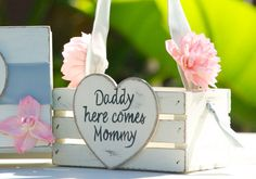 Personalized MINI Flower Girl Basket - Shabby Chic/Vintage/Beach/Cottage Wedding - Pink and Silver flower girl basket on Etsy, $34.00