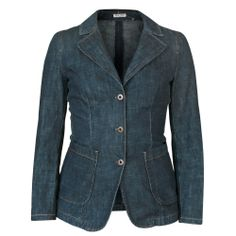 MIU MIU slim fitted 3-button dark blue denim jean sport coat jacket blazer 40/4