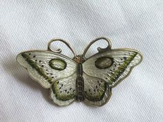 "VINTAGE HROAR PRYDZ NORWAY STERLING SILVER & GUILLOCHE ENAMEL BUTTERFLY PIN | eBay, sold for $42.76 / 1 1/8"" WIDE"