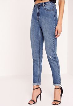 Riot Retro Highrise Jeans Clean Vintage Blue - Missguided