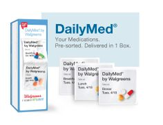 "Medication Adherence Solution  Offered by Walgreens Gets mailed to your house.  Combines your prescriptions, over-the-counter medications, and vitamins into packets sorted by day/time.  Takes the ""remembering"" and ""inconvenience"" out of taking your medications."