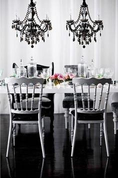 black, white, pink, decor, home, house, interior, table, chair,