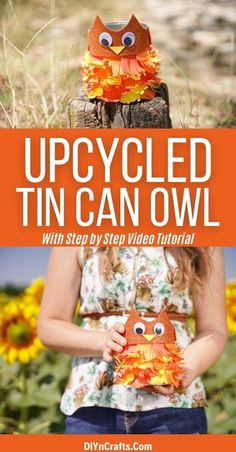 Turn an empty can into this adorable upcycled tin can owl kids craft in minutes! A great way to decorate kids desks for fall! This is a fun repurposed tin can idea that is great for storage in many areas of the house and can easily be customized. #TinCan #Owl #Upcycled #Repurposed #EasyCrafts #KidsCrafts Tin Can Crafts, Owl Crafts, Cute Crafts, Easy Crafts, Crafts For Kids, Paper Crafts, Pinecone Owls, Owl Kids, Owl Feather