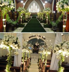 Dos decoraciones de iglesia para boda.