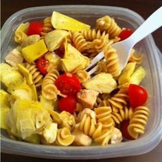 2 chicken breasts, 8 oz whole wheat pasta (cooked and cooled) 1 c. cherry tomatoes-halved, 1/2 cucumber chopped, 1 red bell pepper, chopped, 4 oz artichoke hearts (reserve marinade for dressing)