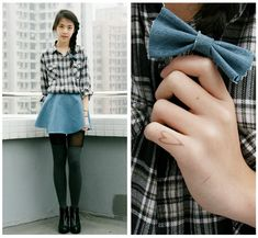 DIY denim skirt and bow ( : (by Zoe  S) http://lookbook.nu/look/3161749-DIY-denim-skirt-and-bow