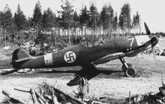 Messerschmitt fighter Bf.109G-2 Lieutenant Urho Saryamo of 24 Squadron of the Finnish Air Force airfield