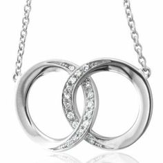 Sterling Silver Two Circle Link Diamond Pendant Necklace (HI, I, 0.13 carat) Diamond Delight. $89.99. Save 68%!