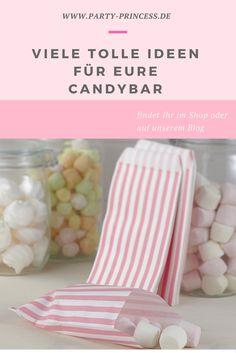 Eine Candybar darf auf einer Hochzeit oder Geburtstagsparty einfach nicht fehlen. Bei uns im Shop findet Ihr alle Dinge um Eure Candybar wundervoll zu gestalten.