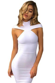 Robes Bandage Moulante Blanc Triangle Decoupe Col Roule MB28447-1 – Modebuy.com