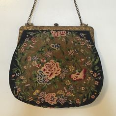 "One day sale 🎈Vintage Embroidered Needlepoint Bag Beautiful little needlepoint purse. Vintage bag with antique gold hardware, push button top and antique gold chain. Absolutely gorgeous bag. No stains or rips. Excellent condition. Chain length is 12"" Vintage Bags Clutches & Wristlets"