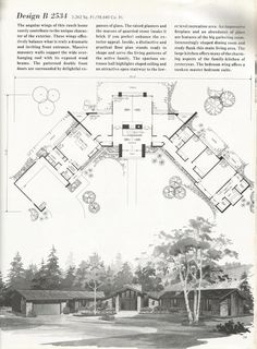 Vintage House Plans, 2000 square feet, mid century homes Design B 2534