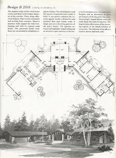 Vintage House Plans, 2000 square feet, mid century homes Design B 2534
