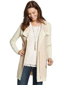 LINK : https://yroo.com/af/1446520/ruid/21327 Chicos Womens Sand Pearl Double Layer Margie Cardigan Sweater - Large