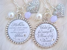 Mother of the Bride Pendant Necklace Mother of by MyBlueSnowflake