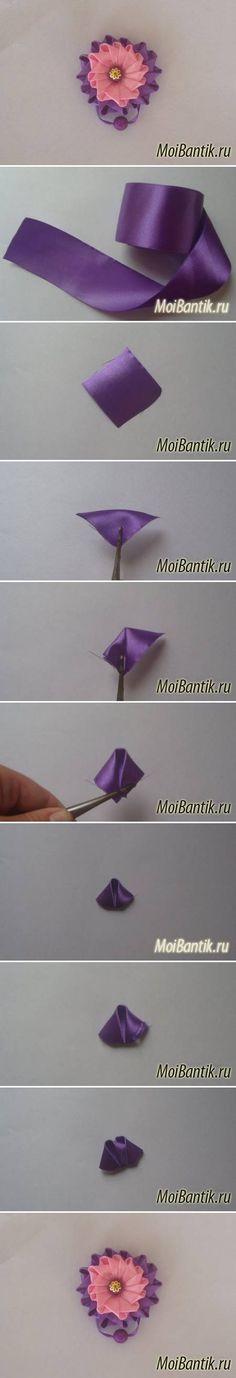 DIY Ribbon Button Flower