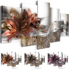 Bilder 200x100 cm - 3 Farben zur Auswahl - XXL Format - Fertig Aufgespannt - TOP - Vlies Leinwand - 5 Teilig - Wand Bild - Kunstdrucke - Wandbild - Blumen Lilien Abstrakt b-A-0273-b-n 200x100 cm: Amazon.de: Küche & Haushalt