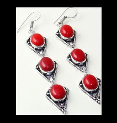 NEW - RED CORAL ANTIQUE SILVER LONG DANGLE HOOK STATEMENT EARRINGS #Handmade #DropDangle