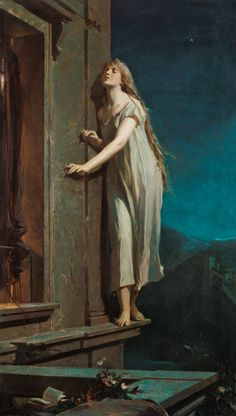 Maximilian Pirner. The sleepwalker . Oil on canvas, 1878....my dreams are filled with this type of scenario.