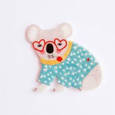 funky koala brooch, love heart glasses and sweater. Brooch // Pin // Koala // shrink plastic // by whistleburg on Etsy