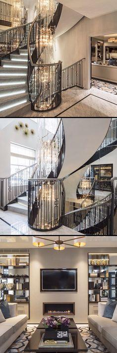 Laura Hammett luxury interiors Luxury Staircase, Interior Staircase, Interior Architecture, Modern Interior Design, Luxury Interior, Interior And Exterior, Luxury Decor, Railing Design, Staircase Design