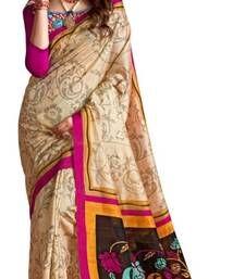 Buy Beige printed cotton_silk saree with blouse with blouse bhagalpuri-silk-saree online
