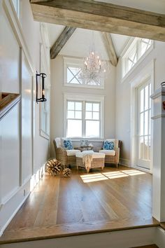 Upper landing featuring exposed beams and French doors leading to a private balcony Coastal Upper landing Coastal Homes Coastal Interiors Coastal Beach house beach house decor Beach House Interior Design ideas Coastal Homes, Coastal Living, Coastal Style, Beach Homes, Coastal Decor, Shabby, Beach House Decor, Home Decor, Interiores Design