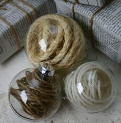 twine inside glass Christmas balls