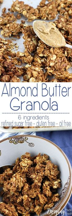 You only need 6 ingredients for this Simple Granola Recipe for Almond Butter Granola. It's ready in 30 minutes - plus it's gluten free, refined sugar free, and oil free! Breakfast Bar Kitchen, Best Breakfast, Breakfast Recipes, Snack Recipes, Dessert Recipes, Snacks, Recipes Dinner, Potato Recipes, Breakfast Ideas