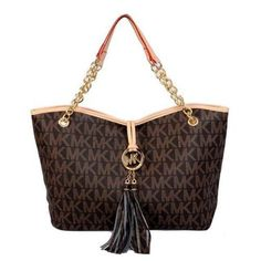 Michael Kors Logo Tassel Large Brown Totes Outlet