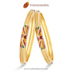 Gold Bangles with Enamel Work, Indian Gold Jewellery Bangles, Gold Jewellery Bangle Designs