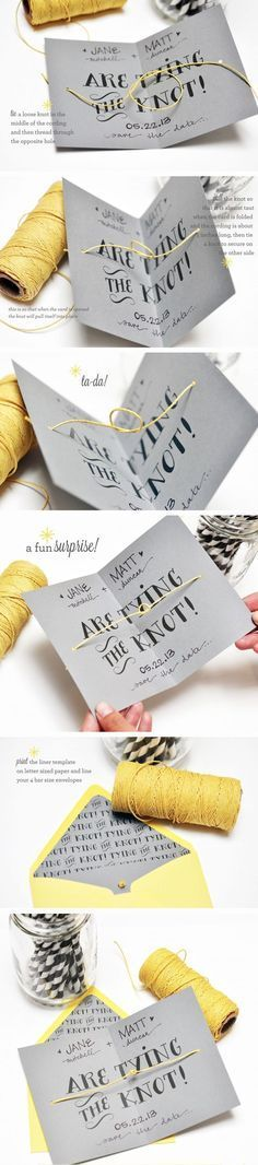 DIY tying the knot cards from Smitten on Paper / Browse our best wedding dresses & gowns collection www.newadoringdress.com 2016 dress style collection, Free custom made service of any dress design & Free Shipping! #NewAdoringDress.com