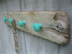 Jewelry Organizer Holder Peg Board Upcycled Driftwood with Green Knobs