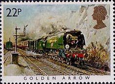 Famous Trains 22p Stamp (1985) Golden Arrow