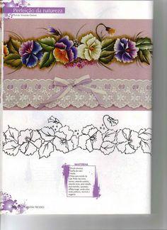 Pintura em Tecido Especial - Rosana Mello - Álbuns da web do Picasa Acrylic Painting Techniques, Irish Lace, Lace Patterns, Colouring Pages, Fabric Painting, Pansies, Creative Art, Lilac, Needlework
