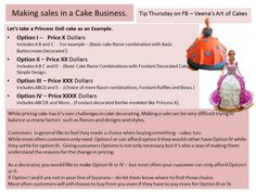 Often you get a customer call for cake, you tell them the design and price, they say they will get back to you and you never hear from them again. Right? Well, it's not just in the Cake business. Pricing in a sensitive matter and no one likes to say 'I cannot afford that'. Here's something that helps me keep some of my customers. I hope your find it useful too. Sounds simple but most often we don't do it because we want to make option III or IV. - Veena's Art of Cakes