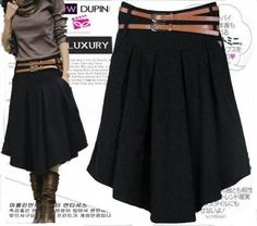2013 Fall Winter women fashion wool pleated skirt dress with belt