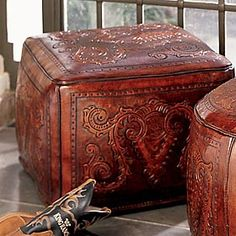 Square tooled leather ottoman for the western themed home