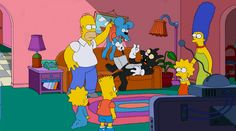 "Simpsons couch gag features Itchy & Scratchy:  The Simpsons couch gag gets very meta in this week's episode ""The Wreck of the Relationship."" The family arrives home to find Itchy & Scratchy, a cat and mouse team with a rivalry like Tom and Jerry except much more violent. The characters are from a cartoon short featured on The Krusty the Clown Show, which itself is a show within the Simpsons universe.  #funny #tv #cartoon http://l7world.com/2014/10/simpsons-couch-gag-features-itchy-scratchy.h..."