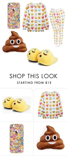 """Emoji pajamas"" by miastar10 ❤ liked on Polyvore featuring Boohoo, Chicnova Fashion, Casetify and Throwboy"