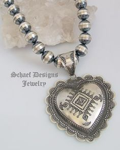 Artist signed VJP Vincent Platero hand Stamped Silver Large Heart Pendant | Schaef Designs | New Mexico