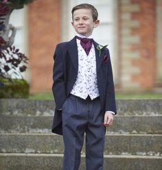Boys Wedgewood Blue Traditional tailcoat with striped trousers  www.peterposh.co.uk Boys Wedding Suits, Suit Hire, Grooms Party, Formal Suits, Young Ones, Groomsmen, Suit Jacket, Trousers, Traditional