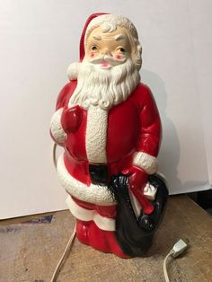 "Vintage Plastic MINT!! Santa Claus Blow Mold Christmas Decor Empire 13"" 1968 