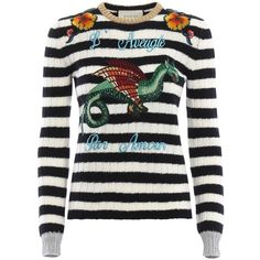 Gucci Sweaters (4.465 BRL) ❤ liked on Polyvore featuring tops, sweaters, striped top, striped sweater, white striped sweater, gucci and stripe top