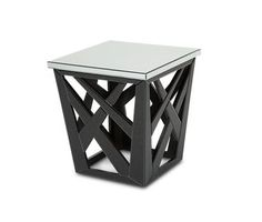 Modern Black Metal Frame Silver Mirrored Square Top End Table