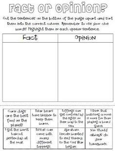 Classroom Freebies: Fact or Opinion Freebie!