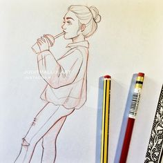 Instagram media by juditmallolart - Quick drawing of a girl I saw the other day while waiting for my bubble tea ☺️