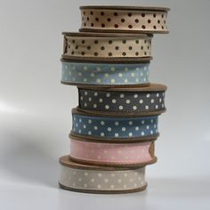 dotted ribbons - linen and milk